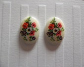 Vintage Decal Picture Stones - Red Blue & White Floral Cabochons Ivory Background White Base 18 X 13mm - Qty 2