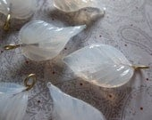 White Opal Glass Leaf Charms Beads Leaves with Brass Loops 24mm X 14mm - Qty 12