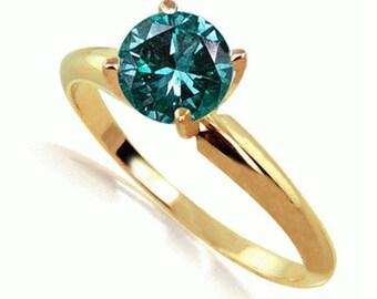 14K  yellow gold ring  blue diamond round diamond  colored diamond solitaire round brilliant