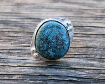 50% OFF SALE - Turquoise Sterling Silver Ring - Size 7.5