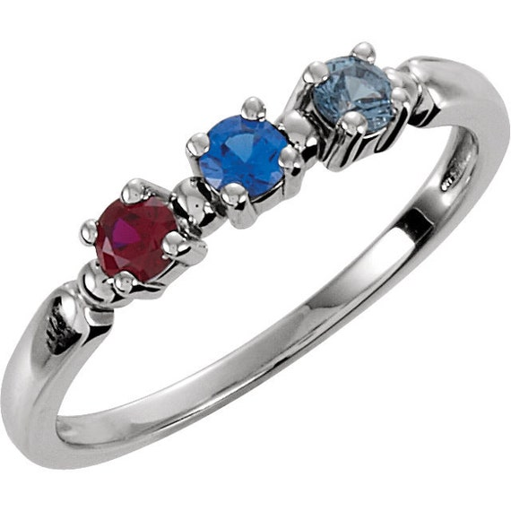 Mothers three stone ring in 14kt white gold 3 0mm gemstones pick any