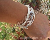 Autism Awareness Silver Puzzle Piece Crystal and Faux Suede Bracelet