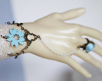 Slave Bracelet, White Lace, Antique Bronze Chains, Blue Faux Leather Flower, Handmade Lace Bracelet, Machine Embroidrered Lace, Fashion Lace