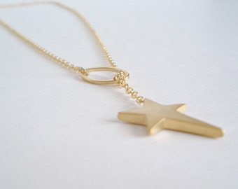 Gold Star Lariat Necklace Asymmetric Star Gold Necklace Gift Idea Lovely Jewels Collier Étoile Or