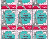Printable DIY Personalized American girl in Paris Eiffel Tower Theme Valentine Cards for kids