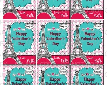 Printable DIY Personalized  girl in Paris Eiffel Tower Theme Valentine Cards for kids