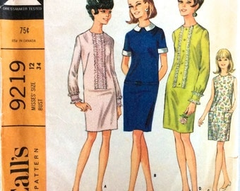 """Vintage 1960s Pattern   Misses Dress in 4 Versions   Size 12 Bust 34""""   McCall's 9219"""