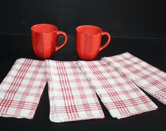 Linen Tea Towels - 4 - Antique Homespun Red Plaid With Tabs Unused
