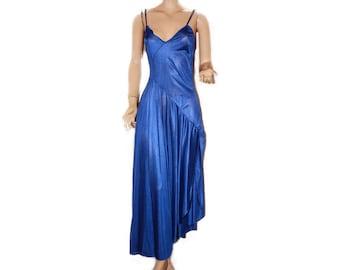 Long Nightgown Royal Blue Asymmetric Vintage