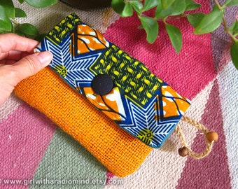 African Batik Orange Jute Purse - in Blue Geometric Motif Orange Yellow