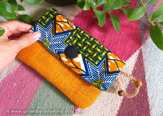 African Purse in Blue Geometric Motif Orange Yellow Jute - For Cards, Mobile Phone