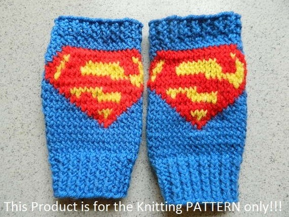 Superman Knitting Pattern : Knitting Pattern: Superman Superboy Supergirl Fingerless