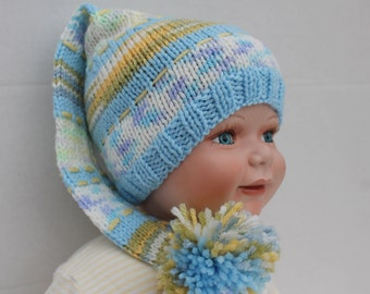 Clearance. Knit Elf Hat for Boy. 3 - 6 months.