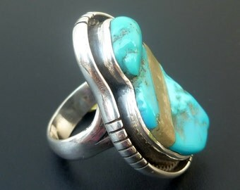 Turquoise Statement Ring - Handmade Sterling Silver and Turquoise Inlay Ring - One of a Kind Turquoise Inlay Ring - Size 7