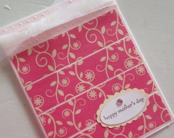 Pretty Pink and Cream Mother's Day card with scrolls, embosed