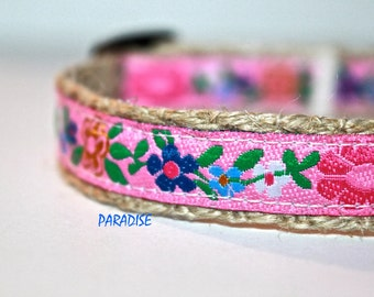 Floral Dog Collar, Pink Dog Collar, Narrow Dog Collar, Girl Dog Collar, Hawaii Dog Collar