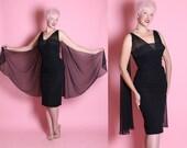 RESERVED 1950's Designer Silk Chiffon Extreme Hourglass Cocktail Dress w/ Rhinestone Covered Shelf Bust & Back Draped Wings by Lilli Diamond