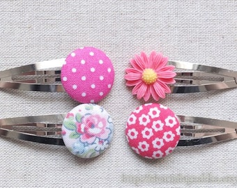 Hair Accessories, Handmade Hair Snap Clips - Mixed Fabric Buttons Resin Flowers, Dark Pink Colorway Set (4 in a set)