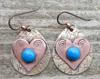 Native American Inspired  Howlite Mixed Metal Earrings