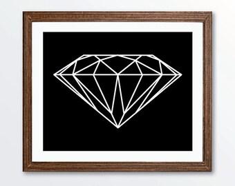 Diamond Art Print - Geometric Wall Art -  Modern Home Decor - Black and White   Under 20