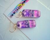 Earrings Purple Sky Dichroic Glass Purple Fused Glass Jewelry Iridescent Glass Dichroic Glass Jewelry Hand Made by csmArtGlass Fused Dichro