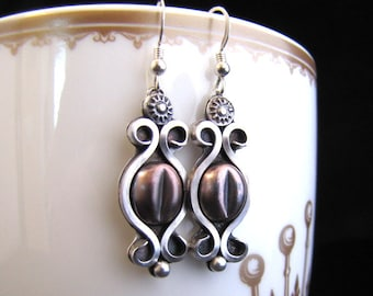 Victorian Coffee Bean Sterling and Copper Earrings