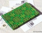 Celtic knot ID wallet - card holder, scrap fabric handmade