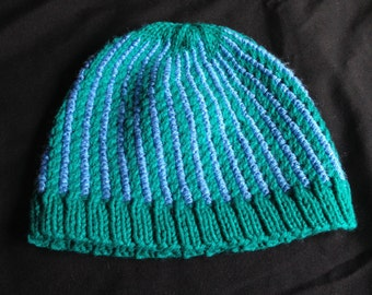 Knit Striped Micro-cable Hat