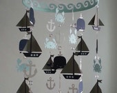 XL Long Baby Mobile Sailboat Ocean Creature Sea Baby Mobile Navy Gray and White Baby Blue Sailboat Nursery Ocean CUSTOMIZE COLORS