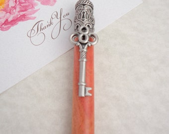 Lovely Pink Ivory Wood Pen with skeleton key clip
