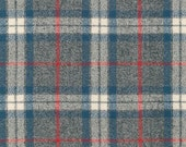 Grey Blue and Red Plaid Flannel, 1 Yard