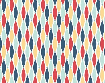 Navy Red Yellow and Blue Diamond Stripe Flannel Fabric, Fly Away By Samantha Walker For Riley Blake, Lures Print in Yellow, 1 Yard.