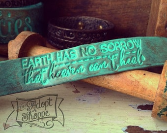 earth has no sorrow that heaven can't heal (turquoise/vintage green shimmer)
