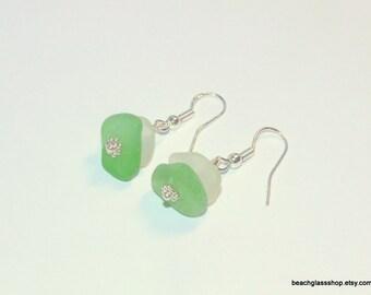 Sea Glass Earrings - Pierced Earrings - Beach Glass Earrings - Lake Erie