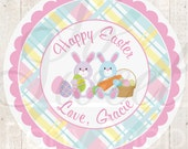 Easter Stickers - Bunny Easter Favor Stickers - Easter Party Decorations - Favor Stickers - Personalized Stickers - Party Favors - Set of 24