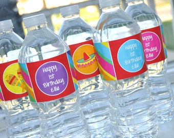 Fiesta Birthday Water Bottle Labels - 1st Birthday - Fiesta Cinco De Mayo - Birthday Party Decorations - Set of 10