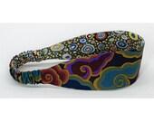Reversible Fabric Headband - Kaffe Fassett fabrics - Dark Grey, Dark Red, Teal, Aqua Blue, Grey Green, Dark Orange - Women, Teens, Adults