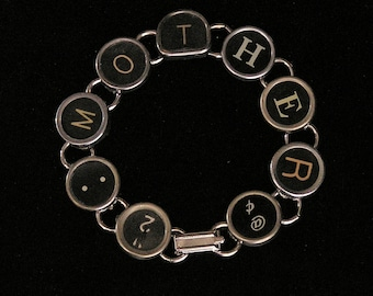 Typewriter Key Bracelet - says MOTHER
