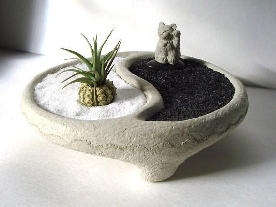 Yin yang bowl sweet mini lucky cat maneki neko air plant for Jardin zen miniature