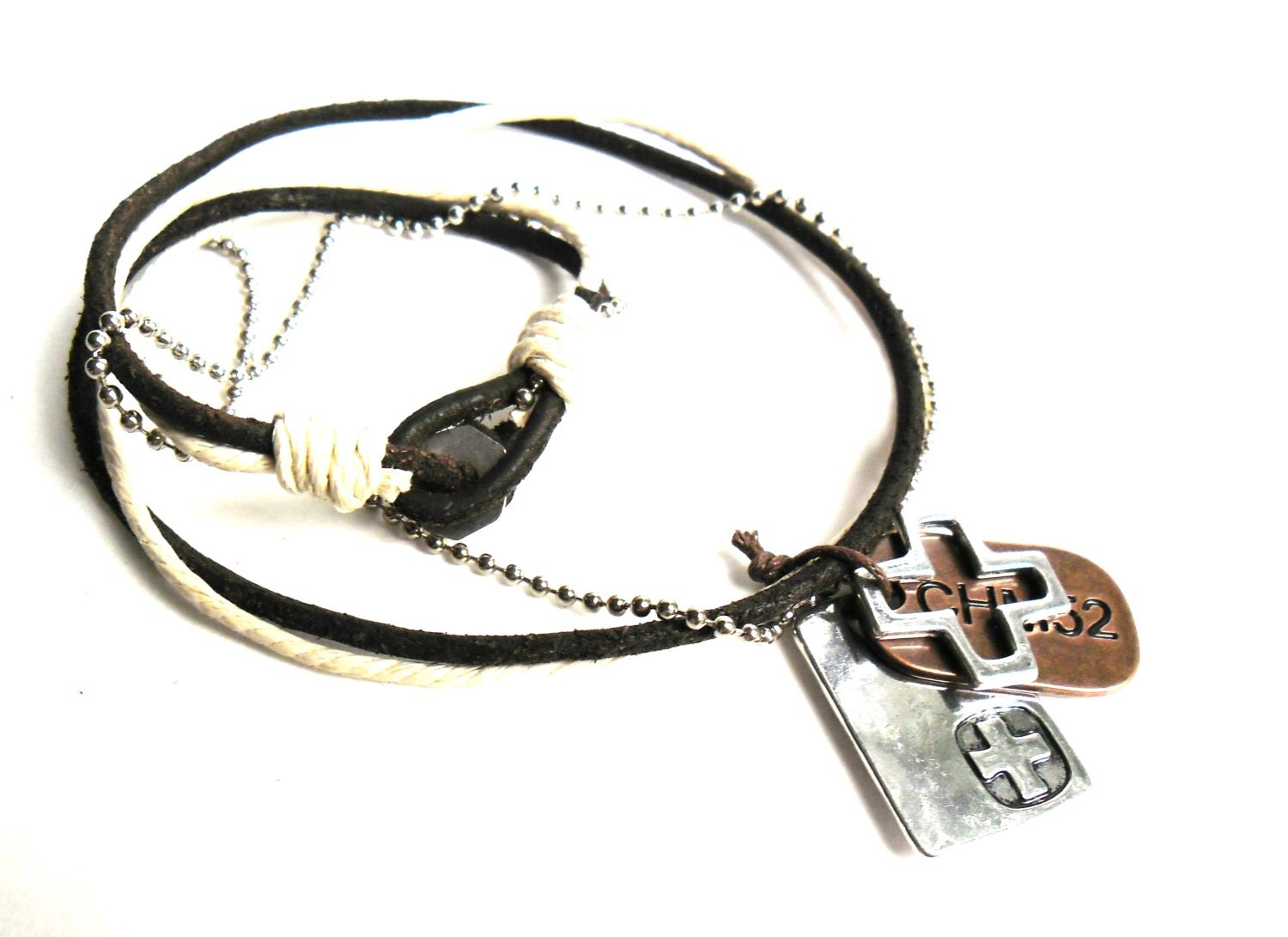 leather mens cross necklace metal mens necklace by necksnakes