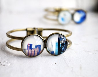 Chrysler Building in New York City Photo Jewelry Bracelet, NYC Skyscrapers Wearable Art, Bronze Statement Bracelet