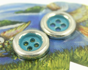 Metal Buttons - Silver Metal Hole Buttons with Greenish Blue Painting - 0.43 inch - 10 pcs