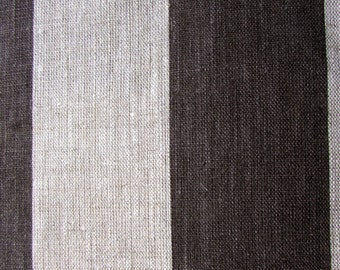 LINEN STRIPES smoke/brown on oatmeal 3 inch, home decor fabric