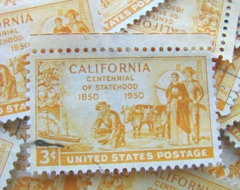 California Gold 50 Vintage CA Statehood 3c US Postage Stamps 1950s Scott 997 Wedding Ephemera Equality LGBT Gay Marriage Lesbian Yellow