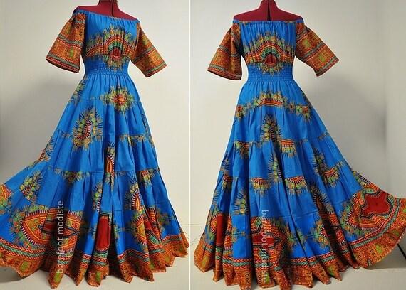 le rhythm tiered africaine dashiki robe longue robe unique. Black Bedroom Furniture Sets. Home Design Ideas
