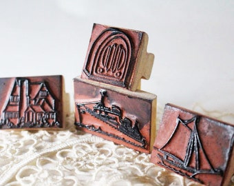 Boats,House,Radio Rubber Stamp, Sailboat Stamp, House Stamp, Radio Stamp, Steam Ship Stamp