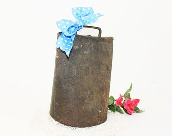 Vintage Farm Cow Bell, Rustic Iron, Hand Forged