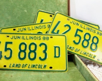Illinois License Plates from 1988