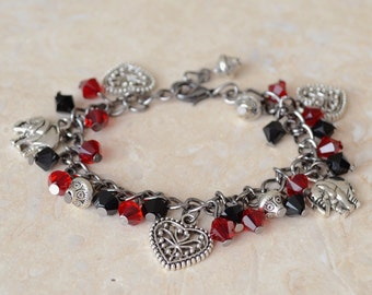 Burlesque charm bracelet, red and black Swarovski bracelet, antique silver charm bracelet