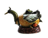 SALE Meiselman Italian Faience Extra Large Guinea Fowl Tureen with Ladle - Meiselman Imports Italy-Hand Painted